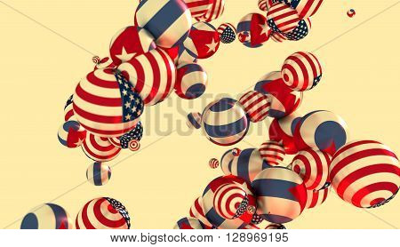 Large group of orbs or spheres levitation in empty space. 3D rendering. USA and Cuba flags