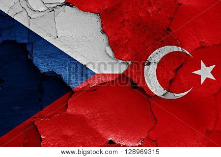 flags of Czech Republic and Turkey painted on cracked wall