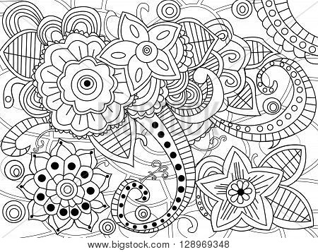 Mandala coloring book for adults vector illustration. Anti-stress coloring for adult. Zentangle style. Black and white lines. Lace pattern