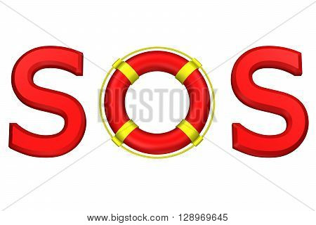 Concept: word SOS with lifebuoy isolated on white background. 3D rendering.