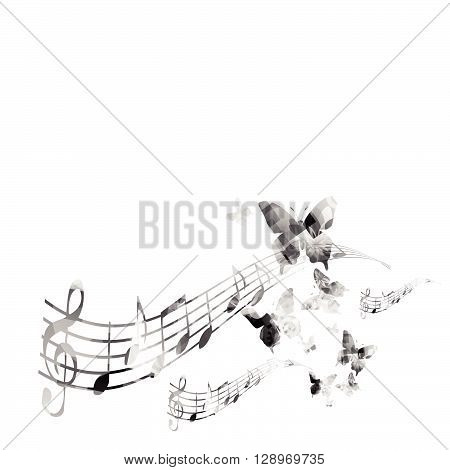 Black and white music background. Vector illustration