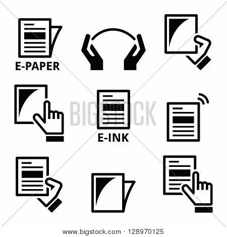 E-paper, e-ink technology display device icons set
