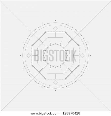 Octagon Sacral Mandala Minimal Art Odd Design