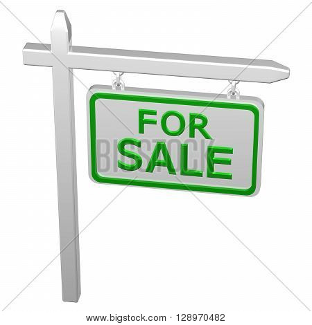 Pillar with sign for sale isolated on white background. 3D rendering.