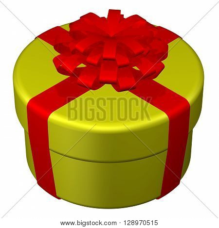 Round box tied ribbon with a bow isolated on white background. 3D rendering.