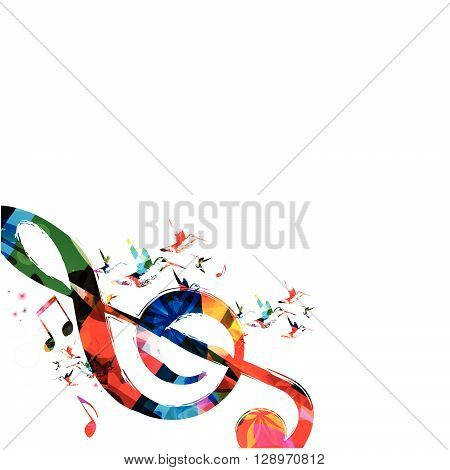 Vector illustration of colorful G-clef with hummingbirds