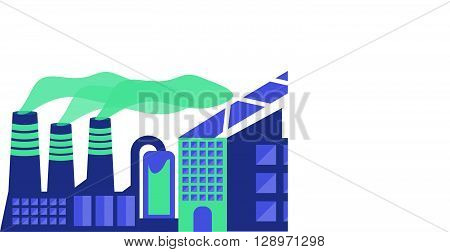 Illustration of an isolated factory. Flat design style