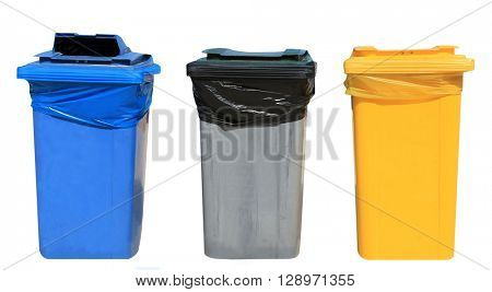 Set of blue, gray and yellow recycling bins on a white background.