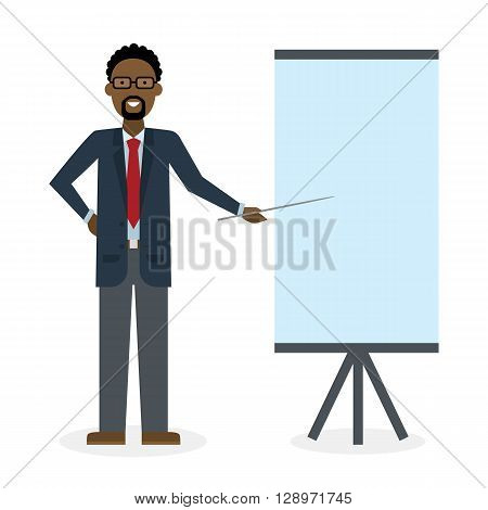 Businessman with pointer and easel board on white background. Teacher or businessman showing and presenting. African american businessman. Office person.