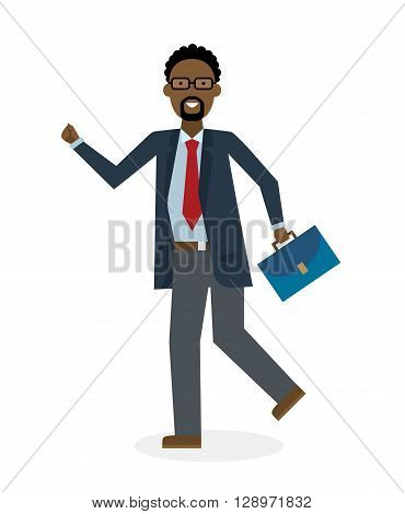 Businessan running on white background. Isolated cartoon character. African american businessman with suit case. Successful achievement. Active work. Fast lifestyle.