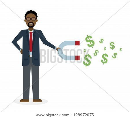 Businessman with magnet on white background. African american businessman holding magnet. Magnetize money, wealth, finance. Earn money.