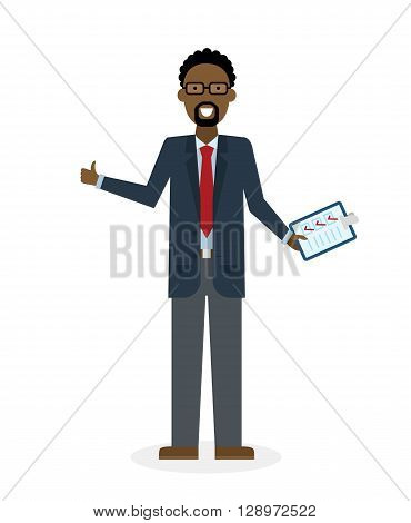Businessman with clipboard and thumb up on white background. Isolated character. African american businessman holding clipboard. Concept of supply, planning, agree, approve.