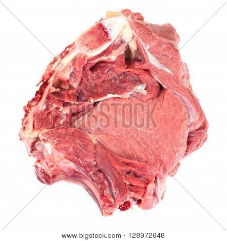 A Piece of Fresh Raw Beef, Veal Isolated on White Background Studio Photo