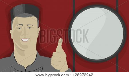 Asian chief in uniform with thumb up. Advice. New delicious and fresh food. Red background. Chineese and japanese. Template.