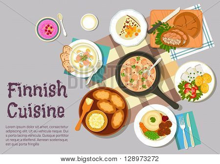 Finnish family sunday breakfast icon with flat symbols of creamy sausage sauce, meatballs with mashed potato, pickled herring with boiled potatoes and vegetable salad, karelian rice pies with egg butter, fish pie in rye bread, salmon soup, bread cheese an