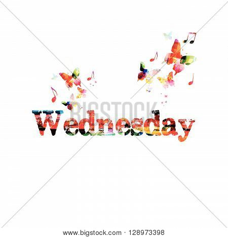 Vector illustration of colorful Wednesday inscription with butterflies