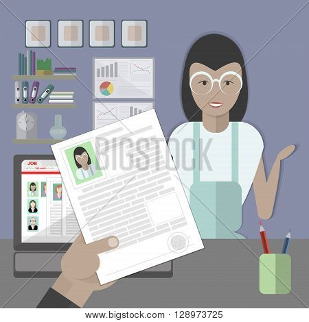Job interview with female resume. Recruitment and hiring candidate. Professional choice. Hire employee. Career in company.