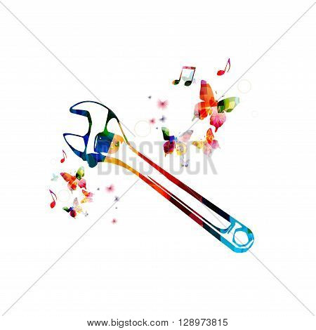 Vector illustration of colorful wrench spanner with butterflies
