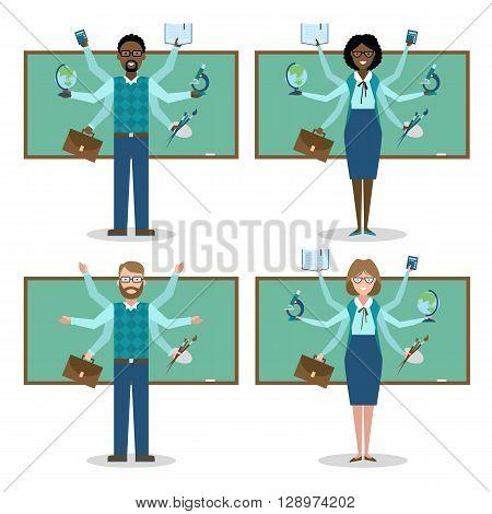 Miltitasking man and woman teacher in school. Set.