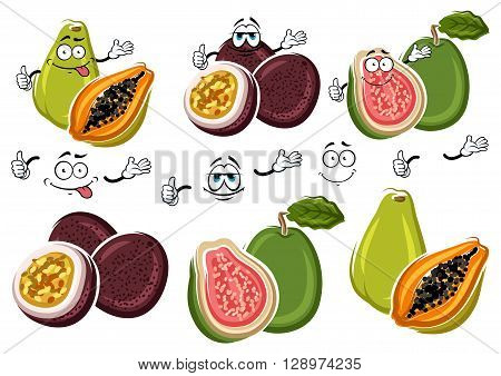 Cute cartoon tropical guava, flavorful papaya and purple passion fruit characters. Exotic fruits for fresh juice and cocktail menu or agriculture harvest design usage