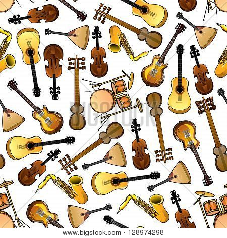 Seamless cartoon drums, violins and saxophones, acoustic and electric guitars, indian sarods and russian balalaikas pattern over white background. Use as classic and ethnic musical instruments theme design