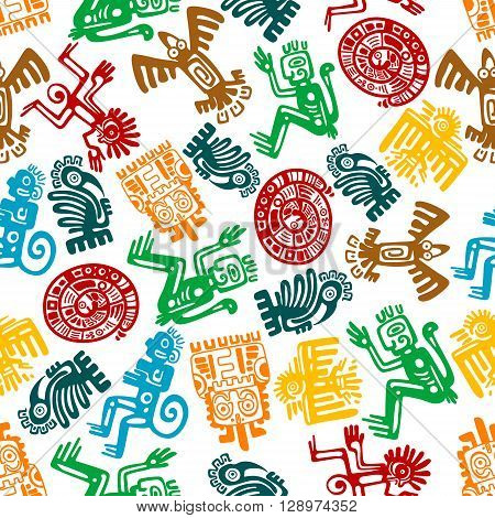 Ancient animal and bird totems of maya or aztec background with colorful seamless pattern of monkeys and snakes, gorillas and eagles, owls and ravens. May be use as antique religion, culture or history design