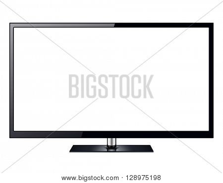 TV, modern television isolated with white screen.