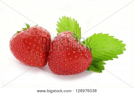 Fresh strawberries with leaves isolated on white