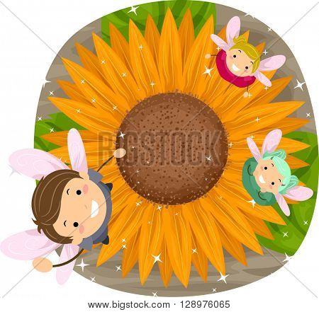 Stickman Illustration of Little Fairies Playing with a Sunflower