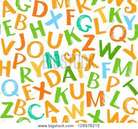 Vector seamless pattern of colored letters of the English alphabet on a white background. The imitation of the texture of crayons and pencils. Flat style. For the decoration.