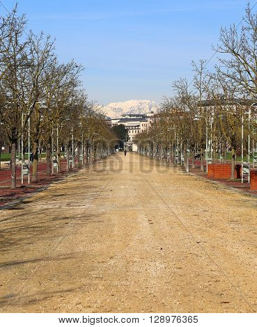 Street In The Public Park Called Campo Marzo In Vicenza, Italy