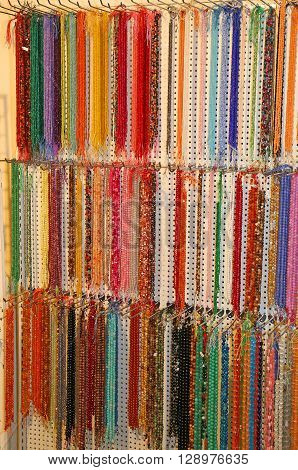 many fine necklace of miscellaneous for sale in the shop of jewellery and costume jewellery