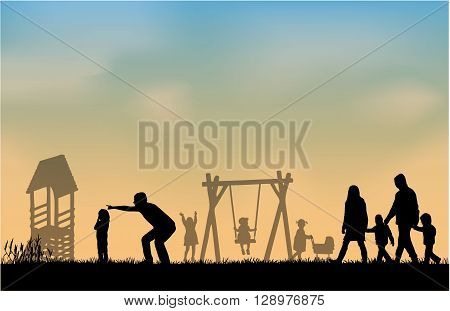 Silhouette of people on the outside.  Vector conceptual illustration.