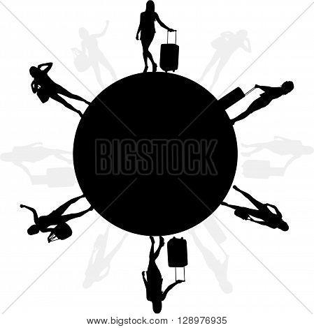 Girl with suitcase. Vector conceptual illustration. Black shadows.