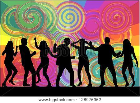 Dancing people silhouettes. Vector work.   Vector conceptual illustration.