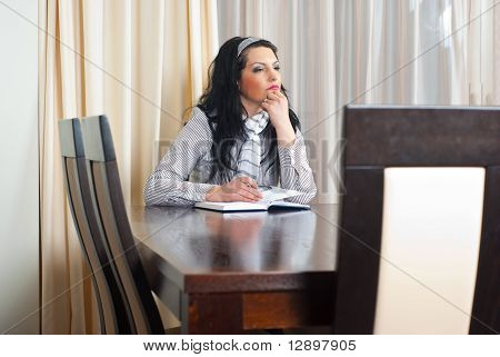 Thinking Woman Planning The Meeting