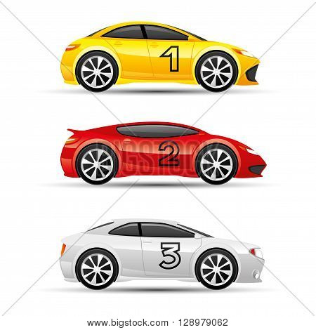 Set of colored sports car on a white background.