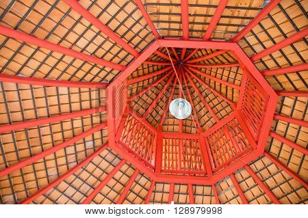 Top view octagon roof structure abstract style