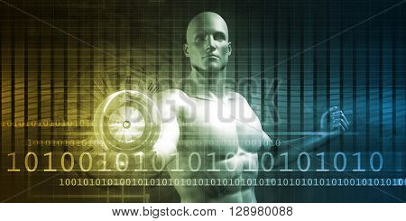 Analytics Technology with Businessman Harnessing Power and Energy 3D Illustration Render