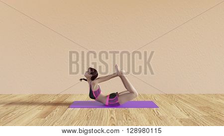Yoga Class Bow Pose Illustration with Female Instructor  3D Illustration Render