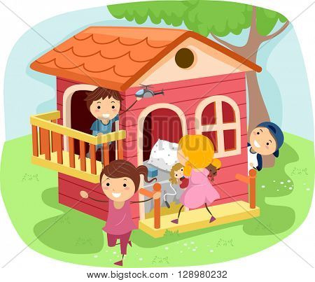 Stickman Illustration of Kids Playing House