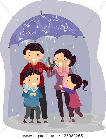 Stickman Illustration of a Family Sharing an Umbrella