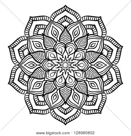 Black Mandala for Coloring. Line mandala isolated on white background. Outline mandala for coloring page. Intricate mandala design. Vector mandala.