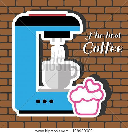 A blue coffee maker machine with a cup of coffee a pink cake with heart and best coffee inscription in outlines over a brown background with bricks digital vector image