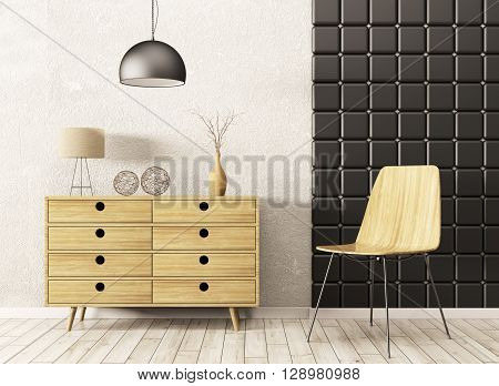 Interior With Wooden Cabinet And Chair 3D Rendering