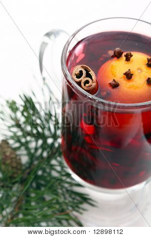 mulled wine in the glass