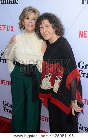 LOS ANGELES - MAY 1:  Jane Fonda, Lily Tomlin at the Grace & Frankie Season 2 Premiere Screening at the Harmony Gold on May 1, 2016 in Los Angeles, CA