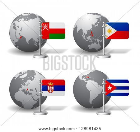 Gray Earth globes with designation of Oman, Philippines, Serbia and Cuba, with state flags. 3D illustration
