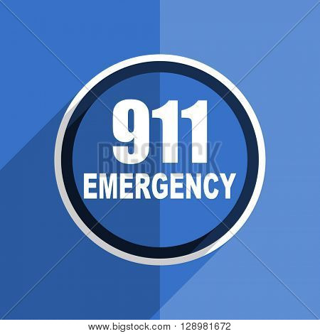 flat design blue number emergency 911 web modern icon