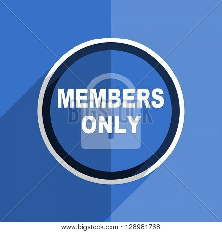 flat design blue members only web modern icon